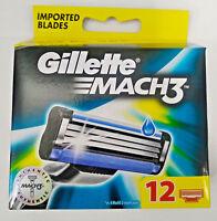 Gillette Mach3 Pack of 12 Cartridges Men's Shaving Blades For Razor Mach 3 New