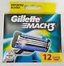 Gillette Mach3 Pack of 12 Cartridges Men's Shaving Blades For Razor Mach 3 New