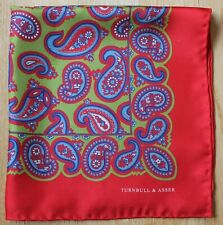 Turnbull & Asser Silk pocket square handkerchief, red, blue & green Paisley