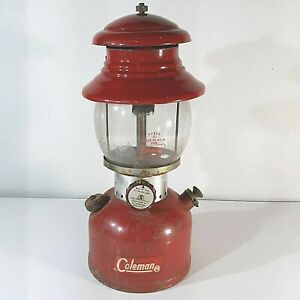 Vintage Red 1963 Coleman 200A Single Mantel Gas Lantern Dated 1/63 Camping Pyrex
