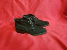 Vintage 90s Joan & David Black Suede Lace Up Minimalist Ankle Boots Size 37 Or 7