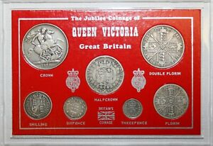 1888 Victoria Complete Set Silver 7 Coins Threepence to Crown Cased