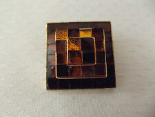 Vintage Sphinx Brand Art Deco Signed Numbered Stone Inlay Square Brooch ....20G