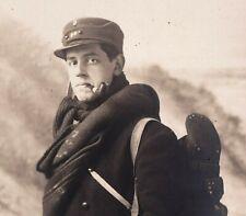 WW1 SOLDIER MOUNTAIN CORP? WAR MILITARY RIFLE ANTIQUE RPPC PHOTO POSTCARD