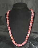 Antique Venetian Murano Glass Red Skunk African Trade Bead Necklace