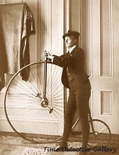 Posing with a Penny Farthing Bicycle - Historic Photo Print