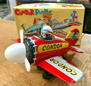 "MODERN TOYS- MASUDAYA -""CONDOR PLANE"" TIN TOY, FRICTION, ORIGINAL BOX - JAPAN"