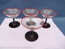 23866 4x Likörglas mundgeblas Schale Art Deco Craquele Fuß farbig liquor glass