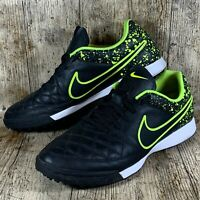 Nike Tiempo Genio Leather TF Turf Soccer Football Cleat (Black, Volt) Size UK 9
