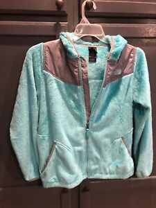 The North Face Girl's Light Green Fuzzy Fleece Hoodie Zip Jacket Size XL 18