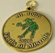 2016 St. John Fools of Misrule Mardi Gras Doubloon brass/bronze With loop