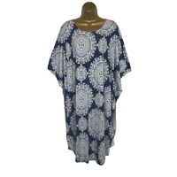 NEW Italian Kaftan Tunic Top Blue White Stretchy UK Plus Size 18 20 22 24 26