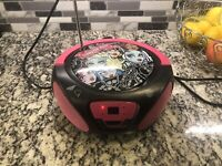 Monster High Hot Pink Boombox Stereo CD Player AM/FM Radio AUX LED AC DC
