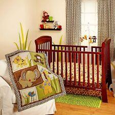 NURSERY 3pc JUNGLE Animal BEDDING SET Baby Crib Monkey Bear Giraffe Earthtones