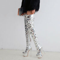 Women Sexy Zip High Heels Platform Stiletto Thigh High Boots Shoes Size 33-47