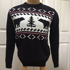 CHAPS Men's Size M Sweater Black Bears Geometric Ski Nordic Tree NWT Nice A13