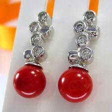 A639 Echte Korallen Ohrringe 925 Sterlingsilber rhodiniert mit Kristallsteine