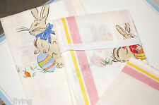 WILLIAMS SONOMA EASTER RABBIT BUNNY  KITCHEN TOWELS 100% LINEN ITALY HOTESS GIFT