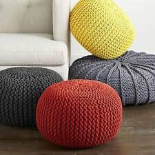Knit Pouf Floor Ottoman 100% Cotton Braid Cord Foot Stool Home Decorative Seat