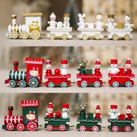 Christmas Santa Kids Gifts Mini Wooden Train Ornament Xmas Party Home Decor