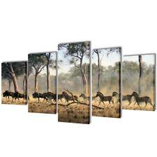#canvas Wall Print Set Zebras 5 Panel 200x100cm Framed Artwork Home Office Decor