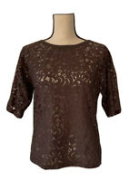 Pleione Womens Blouse Brown Floral Lace Stretch 3/4 Sleeve Scoop Neck Top XS New
