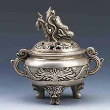 Tibet Silver Hand-Carved Incense Burner & Dragon Lid G849
