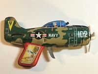 Vintage Navy VA-102 Friction Tin Toy Gun Airplane Jet T.N. Made In Japan