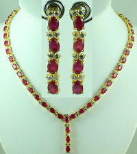 FASHION JEWELRY GEM 14K YELLOW GOLD RED RUBY SAPPHIRE NECKLACE + EARRINGS S86