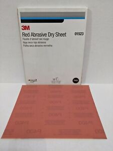 """MMM 01523 Red Abrasive Dry Sandpaper Sheets 9"""" x 11"""" sheets, 400 Grit Pack of 50"""