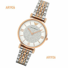 Emporio Armani Silver Two-Tone Crystal Pave Dial Ladies Watch AR1926
