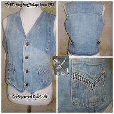 Vintage 70's 80's Branded Lion Hong Kong Light Blue Women's Denim Vest M/L