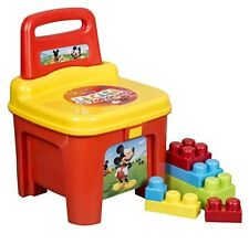 Mickey Mouse Lacasa Storage Seat With Building Blocks Kids Plastic Toy Chair