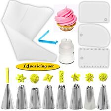 14Pcs Icing Piping Nozzles Pastry Tips Sugarcraft Cookie Decorating Bakery Set