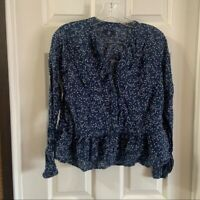 Gap Women's Blue Floral Print Long Sleeve Peplum Blouse size Medium