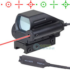 Tactical Holographic Red/ Green Dot Reflex Scope 4 Reticles with Red Laser Sight