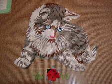 Vtg Cat~Kitten~Ladybug-P/P & Floss Detail Preworked Needlepoint Canvas