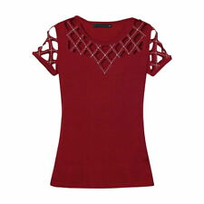 BY053 Casual Woman Slim Fitted Top round neck short sleeve hollow beaded Top 2XL