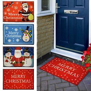Festive Christmas Floor Door Mat Machine Washable 60cm x 40cm Merry Xmas Santa