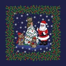 Jolly Santa Claus Christmas Cotton Bandana Scarf Handkerchief Hanky 22X22 Inch