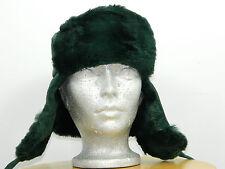 GREEN SHEARED RACCOON RUSSIAN CHAPKA TRAPPER HAT SUEDE TOP Sz. 23'' M n284