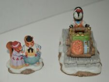 1993 Fitz and Floyd Enchanted Forest Holiday Hamlet Porter & Squirrel Family -2