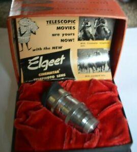 "Elgeet Cinematar Telephoto Lens D Mount Fixed Focus 1 1/2"" f2.7 Orig Box Instruc"