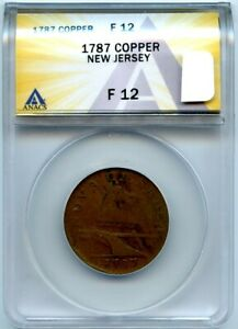 1787 ANACS F12 New Jersey Colonial Copper