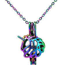 C453 Rainbow Color Unicorn Pendant Pearl Cage Pendant Necklace