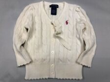 Ralph Lauren Polo Baby Girls Sweater Jacket Ivory Button Up V Neck Cotton 1T