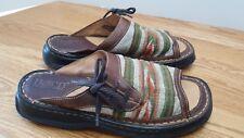 Born M/W 10/42 brown leather open toe sandals woven earth tone tops multi Unisex