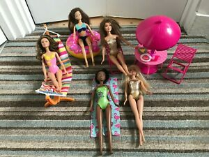 Bundle Dolls 5 Barbie Beach Dolls , table , chairs swinging hammock lge dohnut