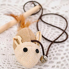 Funny Pet Toy Dangle Mouse Wire Feather Wand Wooden Stick Toy Cat Toy Products
