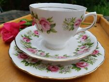 Colclough Enchantment Tea Cup, Saucer & Plate Trio Pink Roses Vintage China 7132